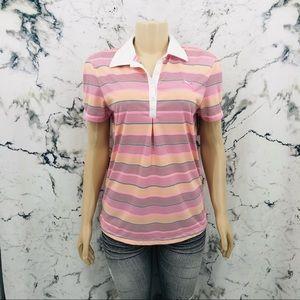 Puma Striped Pink Polo Shirt
